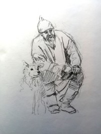 Viking and Friend - graphite