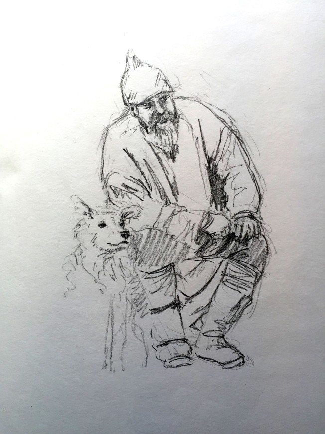 Viking and Friend - graphite