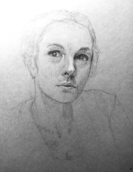 Woman with Braids - Graphite and White Charcoal on toned grey paper.