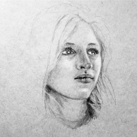 Female study - Graphite and white charcoal on toned grey paper.