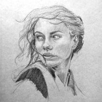 The Look Back - Graphite and white charcoal on toned grey paper.