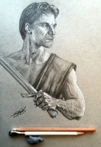 Ready Swordsman - Graphite and white charcoal on toned grey paper.