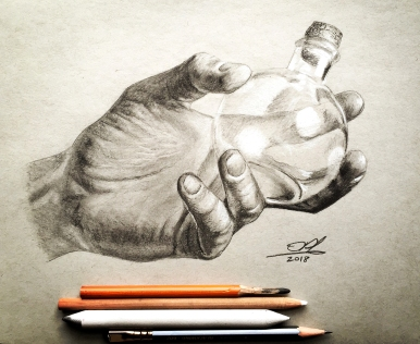 Hand with Flask - Black & White Charcoal, Graphite on toned grey paper.