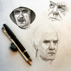 Male Faces Study - Graphite and Ink