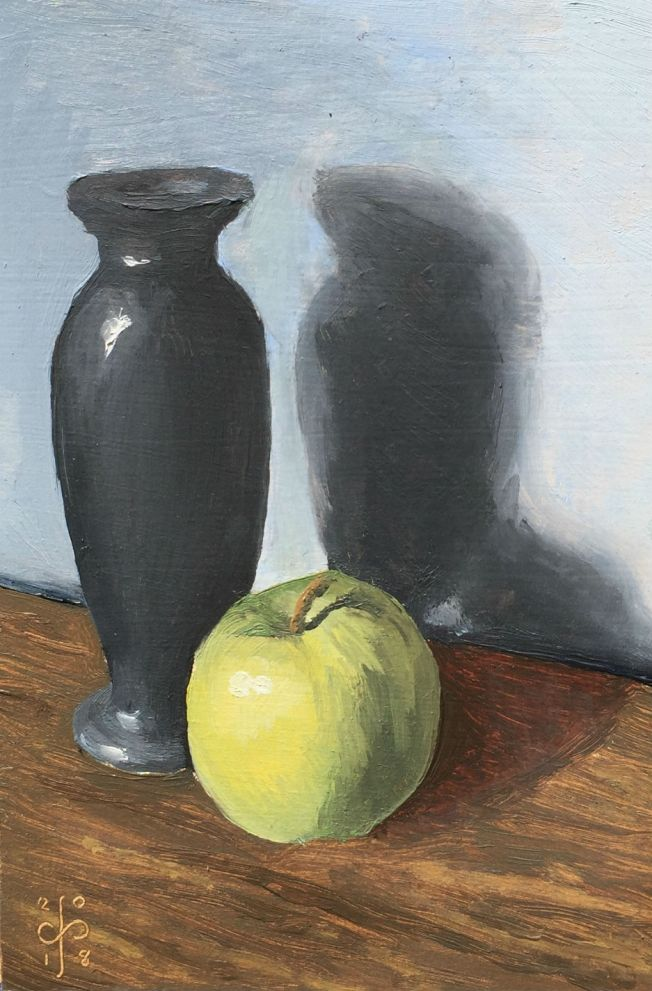 Painting - Vase and Apple